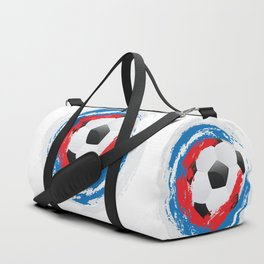 Football Ball and red, blue, white Strokes Duffle Bag