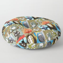 Studio Ghibli Collage - Calcifer, Jiji, Turnip, No Face, Markl, Kodama, Cat Bus & Soot Sprites Floor Pillow