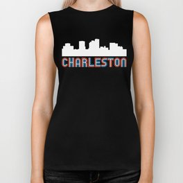 Red White Blue Charleston West Virginia Skyline Biker Tank