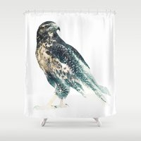falcon Shower Curtains featuring Falcon by RIZA PEKER