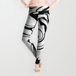 Black, White and Graphic Paint Swirl Pattern Effect Leggings