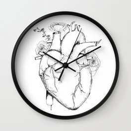 Black and White Anatomical Heart Wall Clock