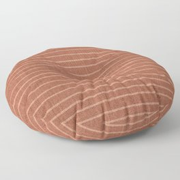 Boho, Minimal, Line Art, Stripes, Terracotta Floor Pillow