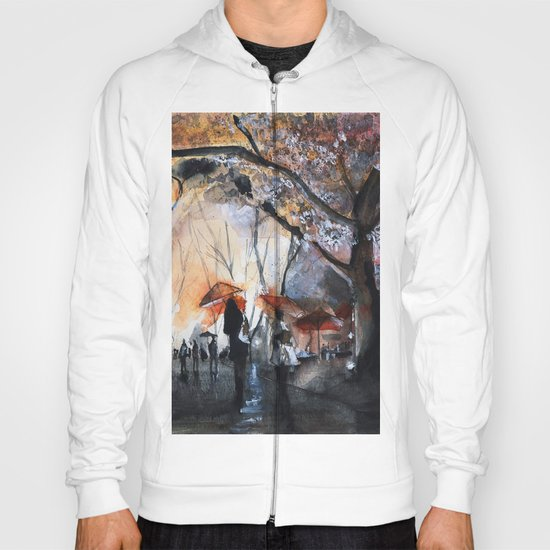 Autumn rain - watercolor Hoody