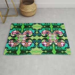 Ultra Garden Green Feng Shui Stunning Psychedelic Abstract Rug