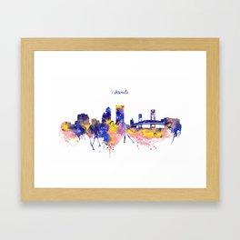 Jacksonville Skyline Silhouette Framed Art Print