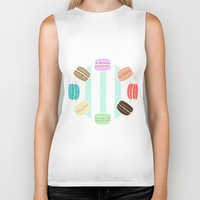 macarons Biker Tanks featuring Macarons by ASHEFACE DESIGNS