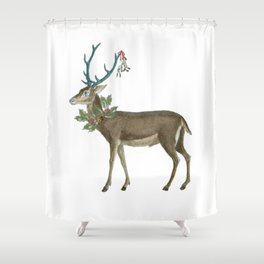 Artsy Christmas reindeer Shower Curtain