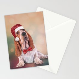 Drawing funny dog. Basset Hound in red hat of Santa Claus Stationery Cards