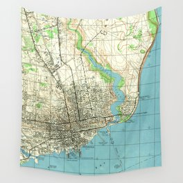 Vintage Map of Pensacola Florida (1944) Wall Tapestry