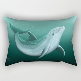 """Riversoul"" by Amber Marine ~ Indian River Lagoon bottlenose dolphin art, (Copyright 2014) Rectangular Pillow"