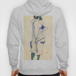 """Egon Schiele """"Rückenansicht eines Mädchens im blauen Rock (Back view of  a girl in a blue dress)"""" Hoody"""