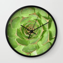 Cactus Green Succulent with Faux Gold Tips Wall Clock