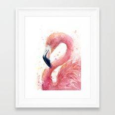 Pink Flamingo Watercolor Framed Art Print