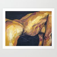 musa Art Prints featuring Musa en amarillo by Ziuhtei Erdmann