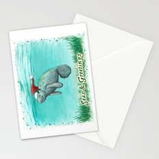 Seas and Greetings ~ Mossy Manatee ~ Watercolor Stationery Cards
