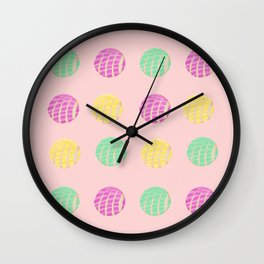 Fun Mexican conchas with pink background  Wall Clock