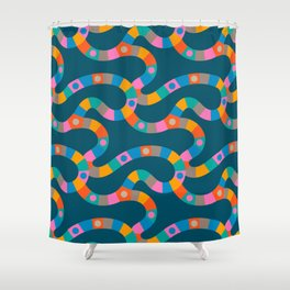 VINTAGE GAME BOARD in Candy Colours Dark Shower Curtain