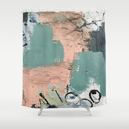 13th and Grant: an abstract mixed media piece in peach green blue and white Shower Curtain