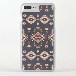 Trendy tribal geometric rose gold pattern Clear iPhone Case