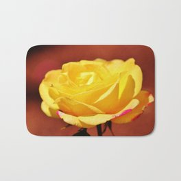 Bright Yellow Rose With Pink Bath Mat