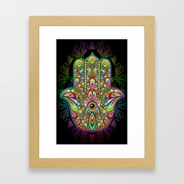 Hamsa Hand Amulet Psychedelic Framed Art Print
