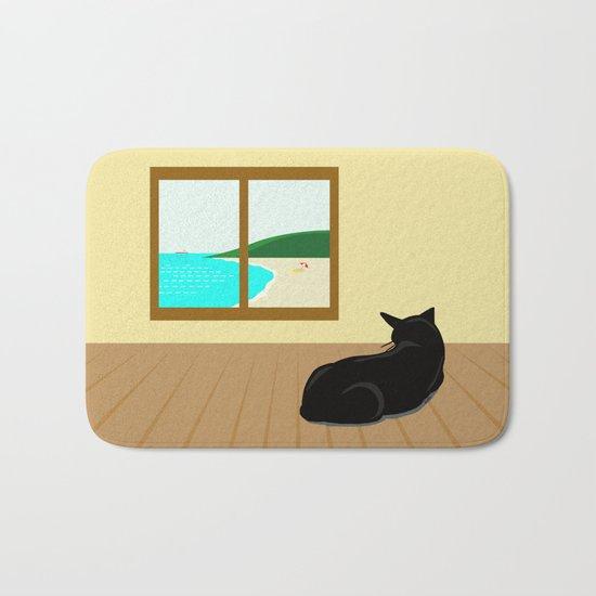 Landscape and cat Bath Mat