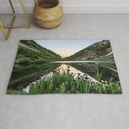 Natures Bouquet // Green and Red Floral Foreground Mountain and Moon Reflection Rug