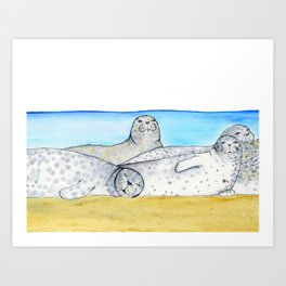 Lazy Spotted Seals Art Print