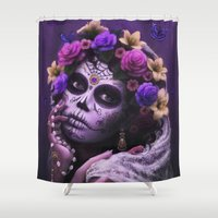dia de los muertos Shower Curtains featuring Dia De Los Muertos by Cellesria /Tanya Varga - Digital Artist