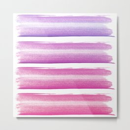 Simply hand painted pink and magenta stripes on white background  2-Mix and Match Metal Print