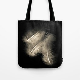 Three feathers in black and white Tote Bag