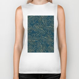 Metallic Monstera Leaves Biker Tank