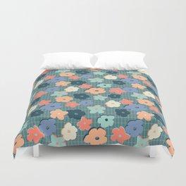 Peach and Aqua Flower Grid Duvet Cover