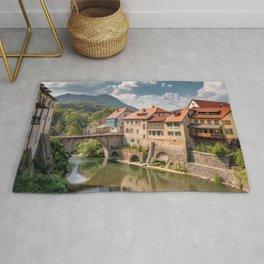 World Popular Ancient Capuchin Bridge Skofja Loka Slovenia Europe Ultra High Resolution Rug