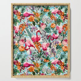 Floral and Flamingo VII pattern Serving Tray