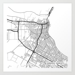Corpus Christi Map, USA - Black and White Art Print