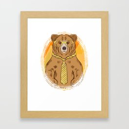 Business Bear in Glasses and Tie graphic for Bear Lover Framed Art Print