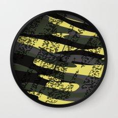 Yellow tan and black camo abstract Wall Clock