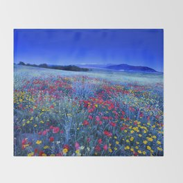 Spring poppies at blue hour Throw Blanket