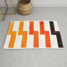 Orange & Black Geometric Minimal Mid Century Modern Lightning Bolt Pattern Watercolor Art Rug