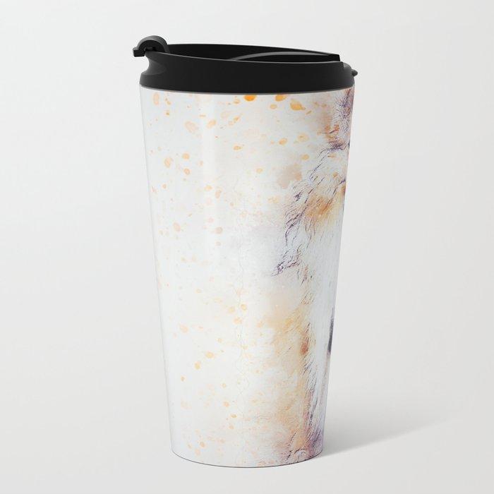 Collie Abstract Metal Travel Mug