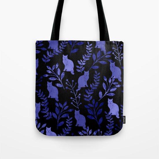 Watercolor Floral and Cat Tote Bag