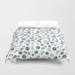 Blue Florals // Hand Painted Watercolors // Deep Blue and Leaf Green Duvet Cover