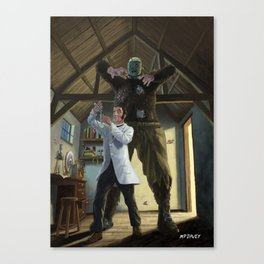 mad professor's monster loose in victorian science lab Canvas Print