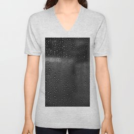 Black and White Rain Drops; Abstract Unisex V-Neck