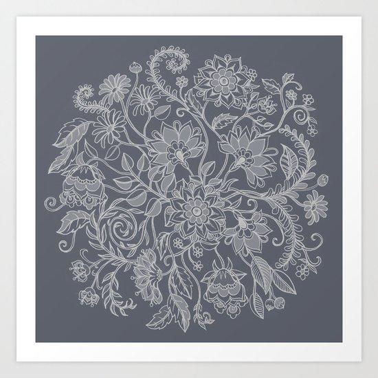 Jacobean Inspired Light on Dark Grey Floral Doodle Art Print