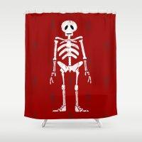 skeleton Shower Curtains featuring Skeleton by Emma Harckham