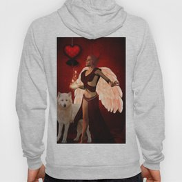 Wonderful fairy with white wolf Hoody