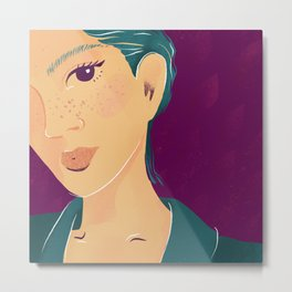 Emerald Pixie Hair - Beautiful Freckles - Purple Background Metal Print